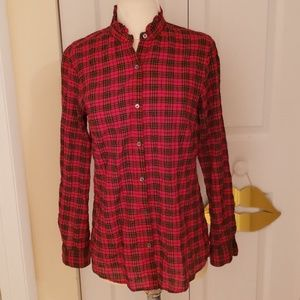 J McLaughlin Red Flannel Top with Ruffle Collar